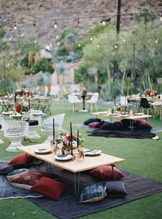 Wedding Themes - A Palm Springs desert wedding that completely breaks the mold with rich, moody colors, unique design moments (they were married under a teepee!) and a modern boho vibe that's a TOTAL breath of fresh a. Outdoor Wedding Reception, Wedding Decor, Wedding Events, Reception Ideas, Boho Wedding, Wedding Picnic, Wedding Blog, Trendy Wedding, Wedding Table
