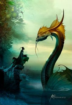 The Art Of Animation, Tomasz Maronski ~In the Time of Dragons~ Magical Creatures, Fantasy Creatures, Fantasy World, Fantasy Art, Photo Dragon, Dragon Medieval, Dragons, Water Dragon, Dragon Fish