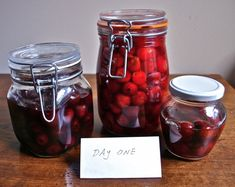 Boozy cherries. Good over ice cream and maybe in my bourbon booze cake I plan to make this weekend