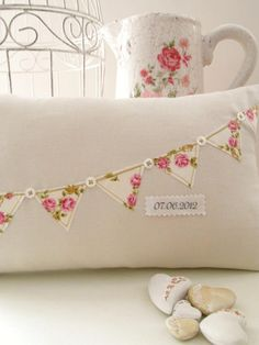 Personalised Floral Bunting Cushion By Random Button This would be fun to do in minature on a crazy quilt