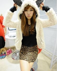 White Lining White Polka Dot Korean Stylish Hoodie with Cute Ear  1