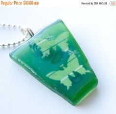Christmas Sale Green Seaglass Pendant Green by HopeFilledJewelry