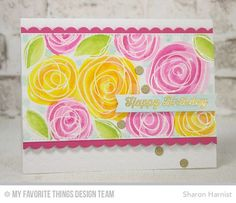 From Sharon Harnist via www.PaperFections.com -- @mftstamps March Release: Blueprints 23 Die-namics & Circle Scribble Flowers stamp set by Lisa Johnson, watercolored.