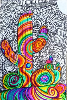 Inspired by the artist Matea Sincovec I like this lady's style! Its like a psychedelic cactus. I love the patterns and colors she p...