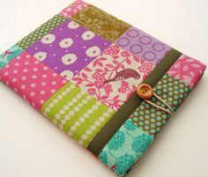 Cute iPad Case iPad 3 cover in patchwork Japanese Echino Fabric turquoise green and pink.