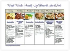 Weight Watcher friendly meal plan with free printables and recipes (scheduled via http://www.tailwindapp.com?utm_source=pinterest&utm_medium=twpin&utm_content=post160100783&utm_campaign=scheduler_attribution)
