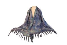 Felted shawls are double-layered with locally-resourced wool and handspun silk. They are made exclusively from natural fibers. Kyrgyz artisans felt the . Cerulean, Shawls, Layers, Wool, Handmade, Layering, Craft, Arm Work, Hand Made