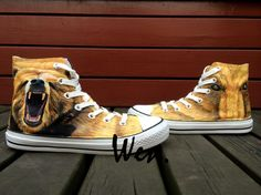 79.12$  Buy here - http://ali3nx.worldwells.pw/go.php?t=32691121856 - Wen Design Custom Men's Hand Painted Shoes Grizzly Bear High Top Boys Man's Canvas Sneakers for Birthday Christmas Gifts