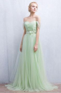 0560e85fd0c Mint Green Off The Shoulder Sweetheart Lace Up With Lace Appliques A-Line  Long Prom Dress
