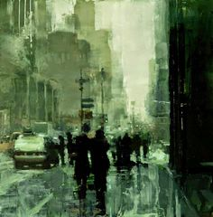 Jeremy Mann, 1979 is an American painter known for working in the Realistic style. For biographical notes on Jeremy Mann see Part Urban Painting, City Painting, Urban Landscape, Landscape Art, Classical Realism, European Paintings, Cool Landscapes, City Art, Watercolor Landscape