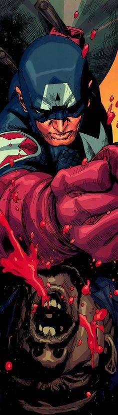 Ultimate Captain America vs Nick Fury by Leinil F Yu