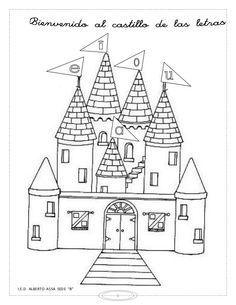 Coloring Pages: Coloring castle alphabet pages Castle Coloring Page, Pattern Coloring Pages, Alphabet Coloring Pages, Cool Coloring Pages, Castle Drawing Easy, Castle Crafts, Doodle Icon, Drawing For Kids, Digital Stamps
