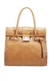 Melie Bianco Terri Belted Satchel with Turn Lock in Tan