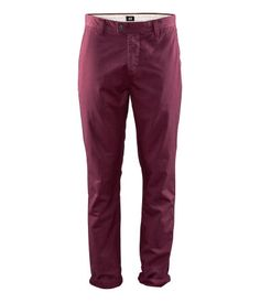 'H & M' wine red/plum chinos. Crisp, fresh and cute. Pair with a fitted white v-neck or white dress shirt with pulled up sleeves and white canvas kung-fu shoes. Note: For extra style, add a pair of Wayfarer's (black, white or deep red) and a thin paisley scarf in similar color tones!