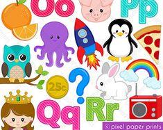 Alphabet Clipart Part 2 ABC clip art DEF por pixelpaperprints