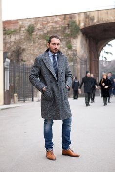 #fall/winter #menstyle #mensfashion #tweed #overcoat #denim #casualstyle #streetstyle