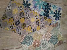Teal Gray Yellow Minky/Chenille Burp Cloth