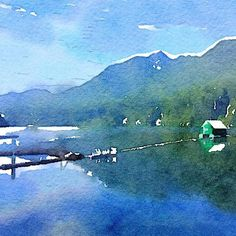 Mood of the day. A digital watercolour of Cleveland Dam, North Vancouver