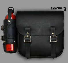 The Sancho fuel bag by Nash Motorcycle Co. both sides with gun sling, brass fittings