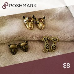 """""""Pretty Kitty"""" earring bundle 3 pairs of cat earrings for pierced ears. The 2 with the faces are Betsey Johnson. *can be sold separately* Jewelry Earrings"""