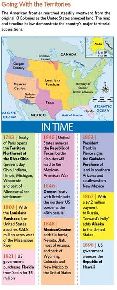 254 best teaching american history images on pinterest american timeline map of when the united states acquired major territories from family tree magazine gumiabroncs Gallery