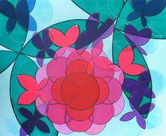 Bolas geométricas formando uma flor vermelha com pétalas rosas e borboletas…