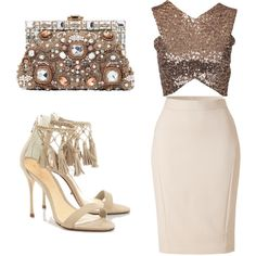 Neutral night out by tootieblack on Polyvore featuring polyvore fashion style Schutz Dolce&Gabbana