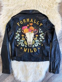 Formally Wild Vegan Leather Jacket (M) - Denim & Bone Custom Clothes, Diy Clothes, Embroidered Leather Jacket, Cool Jackets, Denim Jackets, Painted Denim Jacket, Vegan Leather Jacket, Painted Clothes, Custom Jackets
