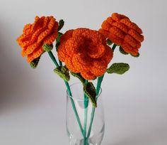Crochet flower / crochet orange roses / floral decor / flowers