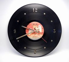 Clock from old vinyl record - awesome for music themed den
