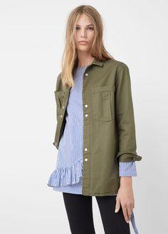 SHOP A/W 16: Love the ruffled striped top layered under a khaki shirt.