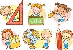 Conjunto de Escola de crianças mulher segurando objetos de escola diferente download vetor e ilustração royalty-free