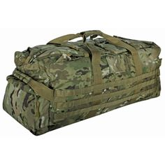"Multicam® Jumbo Patrol Bag    Constructed of rugged tactical polyester.  Key features include:  Extra large main compartment with 4 interior mesh pockets.  Concealed shoulder straps for easy transition from gear bag to backpack.  2 end pockets with fitted storm flaps and zippered closure.  Padded ""grip"" handle, 2 end handles, cinch straps to keep stowed gear intact and to prevent zipper failure.  Size: 35"" x 13"" x 14"""