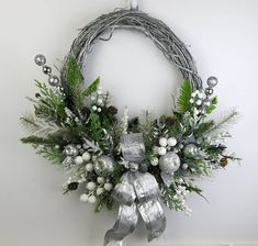 43 Elegant Christmas Decoration Door Wreath For Home Ideas. Wreaths have become one of the most popular kinds of Christmas decorations in recent times. And there are many kinds of wreaths made from va. Christmas Wreaths For Front Door, Wreaths For Sale, Summer Door Wreaths, Christmas Door Decorations, Holiday Wreaths, Winter Wreaths, Elegant Christmas Decor, Silver Christmas, Christmas 2019