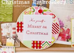 Christmas embroidery reds pinks