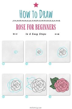 Flower Drawing For Kids, Simple Flower Drawing, Easy Flower Drawings, Flower Drawing Tutorials, Simple Flowers, Easy Drawings, Flower Drawing Tutorial Step By Step, Learn To Draw, Step By Step Instructions
