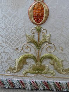 Altar Frontal with Superfrontal Ivory White Stunning Embroidery from Hyde  Background fabric is Fairford Brocade