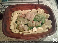 Kohlrouladen mit Fächerkartoffeln im Römertopf
