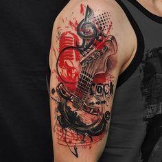 """Rockin' tattoo by @fernandoshimizu  #perfecttattoo #perfectartist #abstract…"