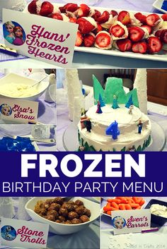 no kids, so no kid parties at this time, but cute!  Frozen Birthday Party Dinner Menu: Themed food ideas - Mad in Crafts