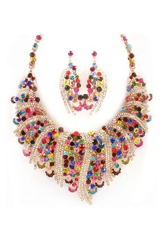 Emmaly Statement Necklace Set in Magnolia Crystal