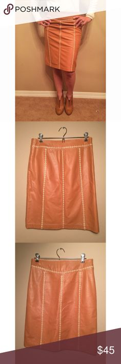 Tan Leather Skirt Beautifully made tan leather skirt with cream stitching. Knee length, comfortable, size: M GAP Skirts Pencil