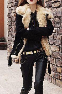 Street style chic/karen cox...Black Lapel Long Sleeve Zipper Fur Coat for winter with leather leggings