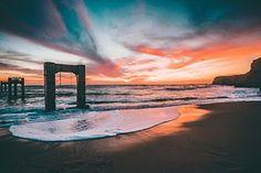 Playa, Puesta De Sol, Arena, Océano, Mar