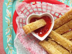 honey shortbread fries with strawberry jam. the perfect mix of sweet and savory!