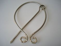 Handmade Scarf Pin-German Silver-Penannular Pin-Hand Hammered-Celtic Brooch-Shawl Pin-Wire Pin-Curved-Connected Pin-Handmade Jewelry
