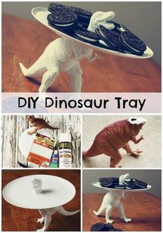 DIY Dinosaur Party Tray - Jules★ B★ - DIY Dinosaur Party Tray DIY Dinosaur Birthday Party Tray - this is kind of cool but I wonder if you could really make it food safe? Dinosaur Birthday Party, 3rd Birthday Parties, Boy Birthday, Birthday Ideas, Elmo Party, Mickey Party, Third Birthday, Dinasour Birthday, Monster Party