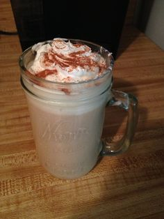 Pumpkin spice latte w/ cool whip and cinnamon on top:)   1 pumpkin spice Keurig K cup 1 Tbsp Sugar 1/8 tsp Cinnamon  2 Tbsp Cool Whip   Allow 60 seconds for the Keurig to heat up your coffee. Add sugar then stir.  Cool whip on top with a sprinkle of cinnamon for more flavor!!