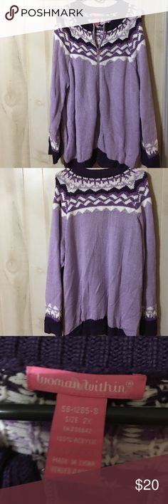 NWOT Woman Within Purple Sweater Size 2X NWOT Woman Within Purple Sweater Size 2X, fun double zipper. Can zip from Top or bottom. perfect for chilly evenings, nonsmoking home Woman Within Sweaters Cardigans