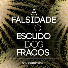 A falsidade é o escudo dos fracos. (Frases para Face)